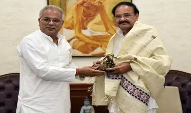 उप राष्ट्रपति एम. वेंकैया नायडू से मिले सीएम भूपेश बघेल, उपराष्ट्रपति ने सरकार के विकास कार्यों को सराहा