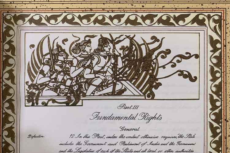 संविधान की मूल प्रति पर भगवान राम-सीता का चित्र, कानून मंत्री ने शेयर की तस्वीर