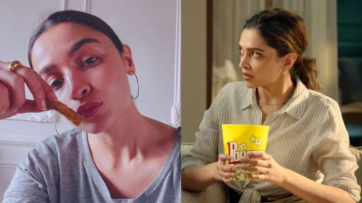Deepika Padukone reveals her comfort food while Alia Bhatt gorges on french fries. Celebs react