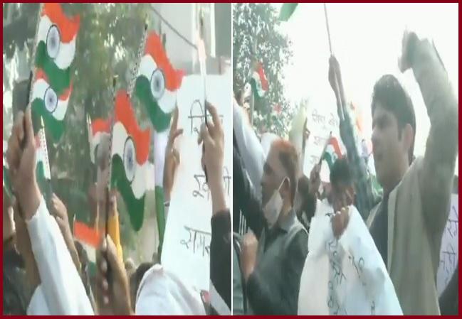 locals protest against farmers - Singhu border - 1